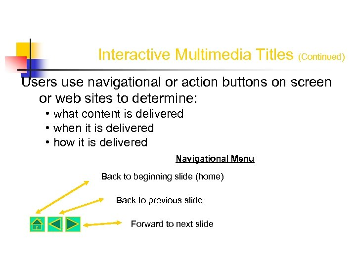 Interactive Multimedia Titles (Continued) Users use navigational or action buttons on screen or web