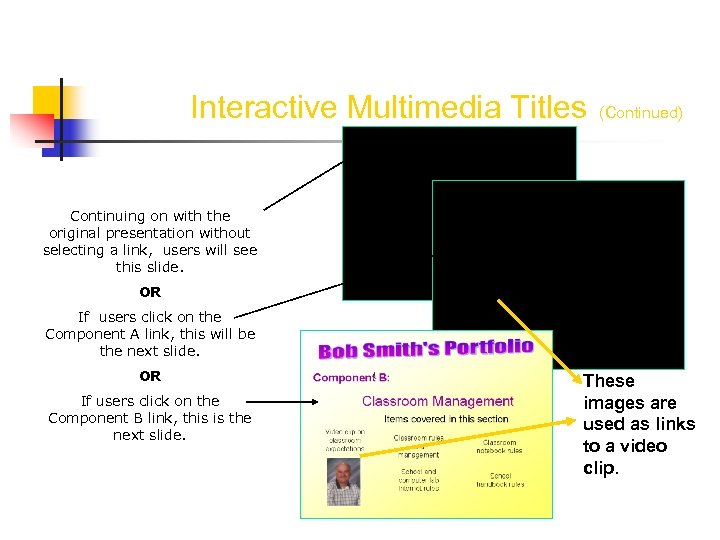 Interactive Multimedia Titles (Continued) Continuing on with the original presentation without selecting a link,