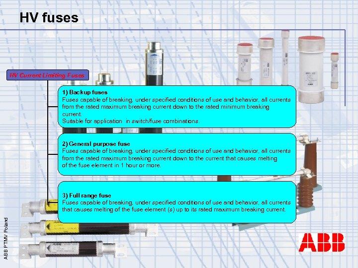 HV fuses HV Current Limiting Fuses 1) Backup fuses Fuses capable of breaking, under
