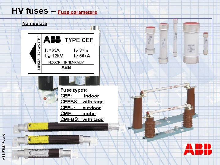 HV fuses – Fuse parameters Nameplate ABB PTMV Poland Fuse types: CEF: indoor CEFBS: