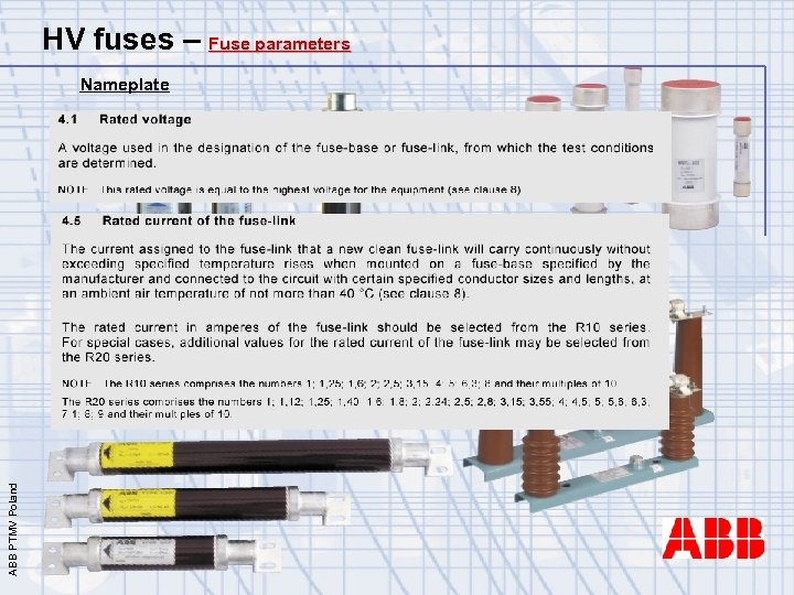 HV fuses – Fuse parameters ABB PTMV Poland Nameplate