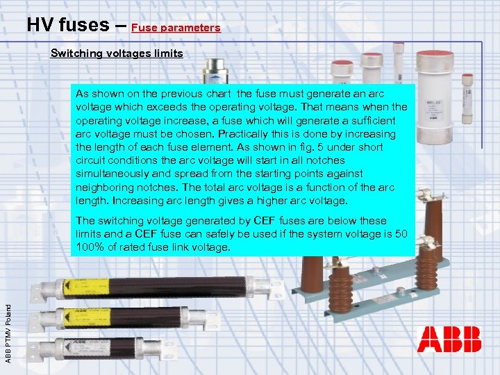 HV fuses – Fuse parameters Switching voltages limits As shown on the previous chart