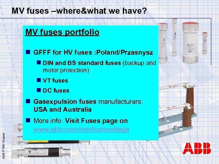 MV fuses –where&what we have? MV fuses portfolio n GFFF for HV fuses :