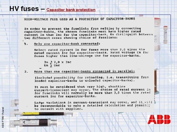 ABB PTMV Poland HV fuses – Capacitor bank protection