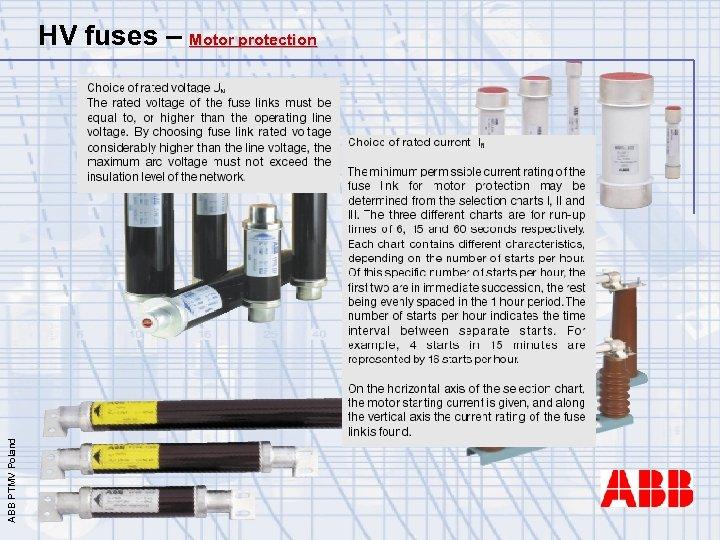 ABB PTMV Poland HV fuses – Motor protection