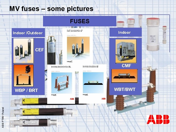 MV fuses – some pictures FUSES Indoor /Outdoor Indoor CEF CMF ABB PTMV Poland