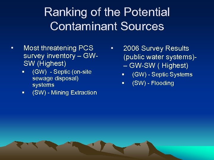 Ranking of the Potential Contaminant Sources • Most threatening PCS survey inventory – GWSW