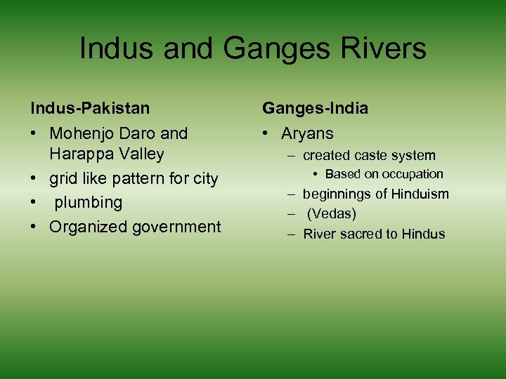Indus and Ganges Rivers Indus-Pakistan Ganges-India • Mohenjo Daro and Harappa Valley • grid