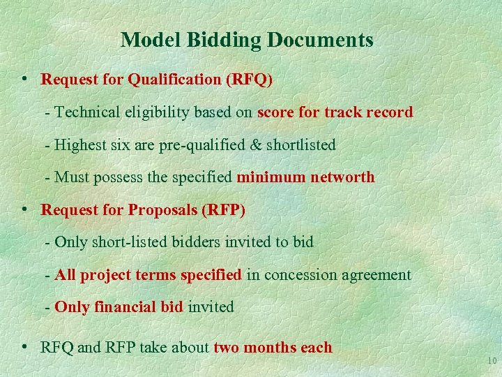 Model Bidding Documents • Request for Qualification (RFQ) - Technical eligibility based on score