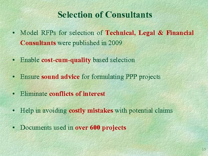 Selection of Consultants • Model RFPs for selection of Technical, Legal & Financial Consultants
