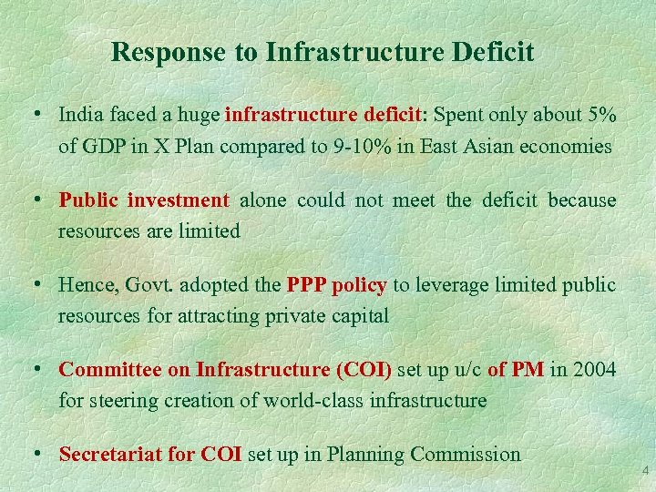 Response to Infrastructure Deficit • India faced a huge infrastructure deficit: Spent only about