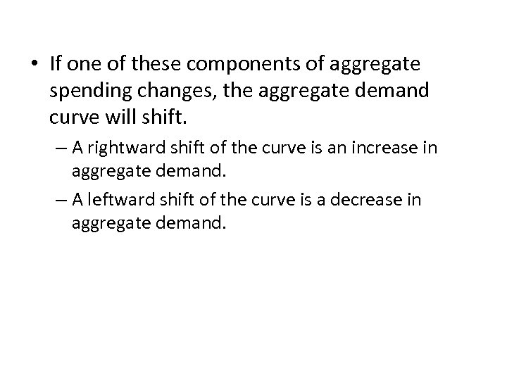 • If one of these components of aggregate spending changes, the aggregate demand