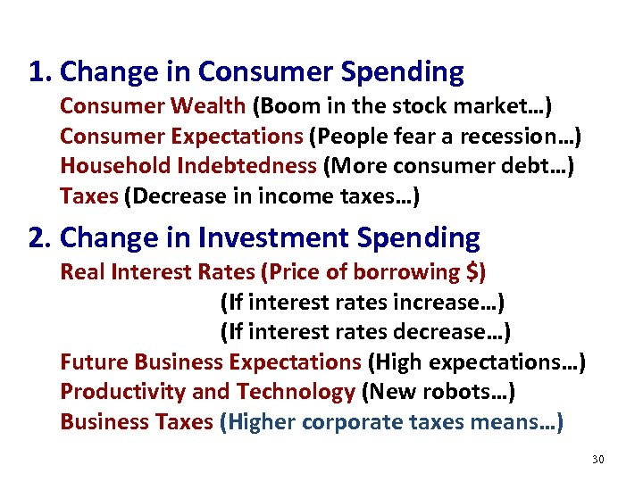 1. Change in Consumer Spending Consumer Wealth (Boom in the stock market…) Consumer Expectations