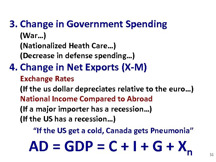 3. Change in Government Spending (War…) (Nationalized Heath Care…) (Decrease in defense spending…) 4.