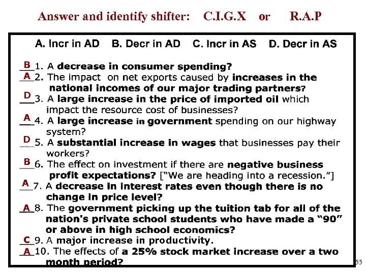 Answer and identify shifter: C. I. G. X or R. A. P B A