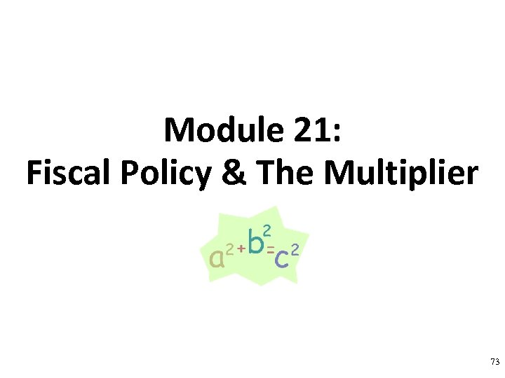 Module 21: Fiscal Policy & The Multiplier 73