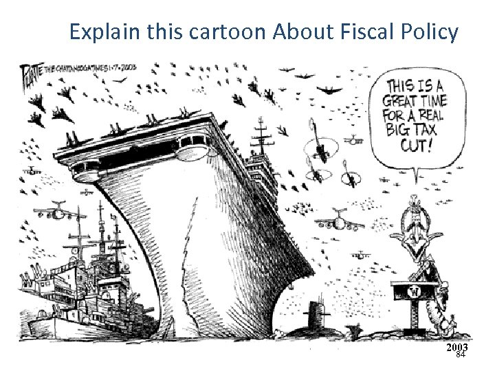 Explain this cartoon About Fiscal Policy 2003 84