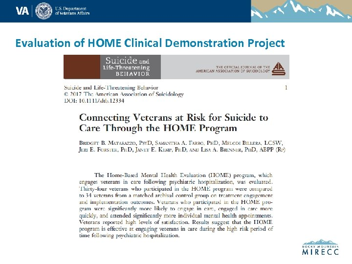 Evaluation of HOME Clinical Demonstration Project