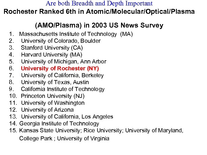 Are both Breadth and Depth Important Rochester Ranked 6 th in Atomic/Molecular/Optical/Plasma (AMO/Plasma) in