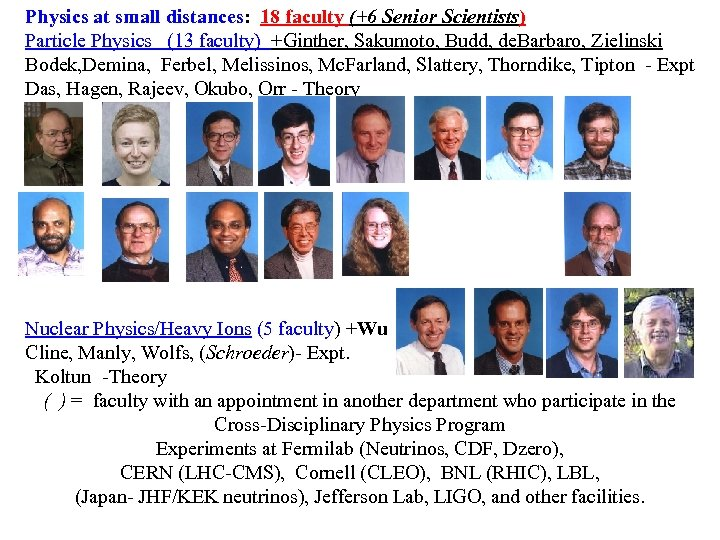 Physics at small distances: 18 faculty (+6 Senior Scientists) Particle Physics (13 faculty) +Ginther,