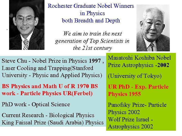 Rochester Graduate Nobel Winners in Physics both Breadth and Depth. We aim to train