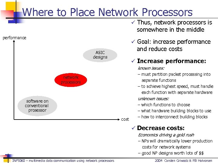 Where to Place Network Processors ü Thus, network processors is somewhere in the middle