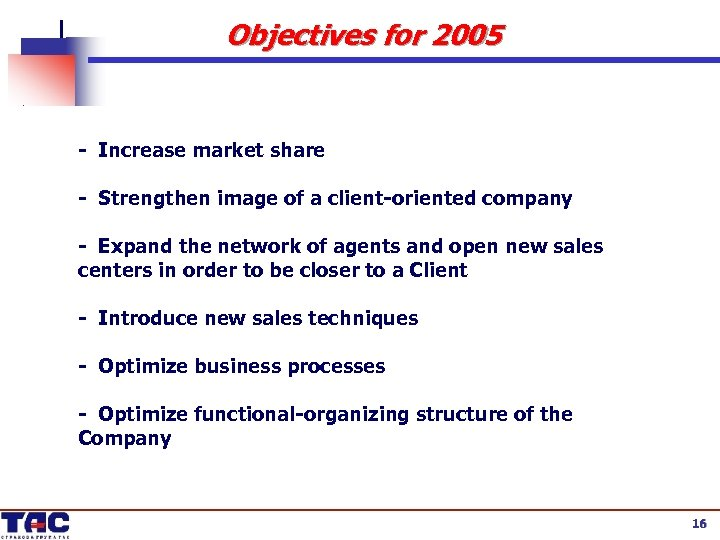 Objectives for 2005 - Increase market share - Strengthen image of a client-oriented company