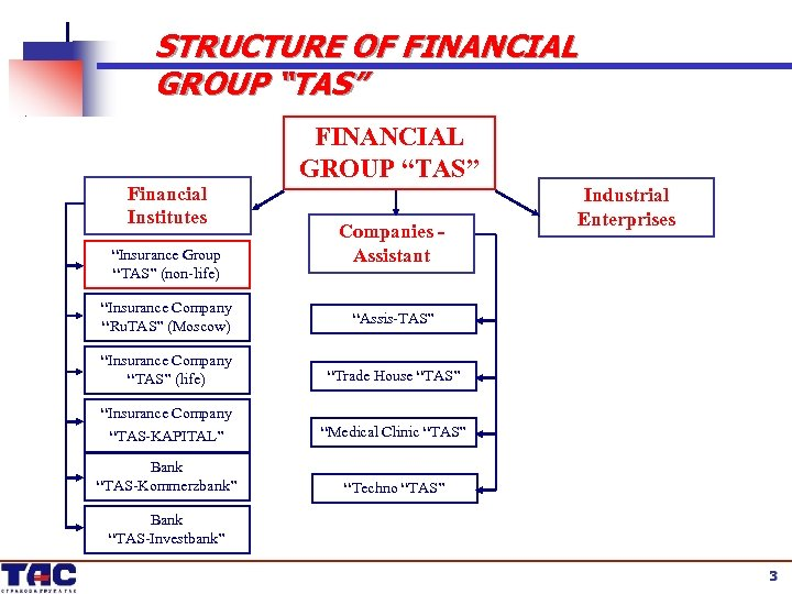 """STRUCTURE OF FINANCIAL GROUP """"TAS"""" Financial Institutes """"Insurance Group """"TAS"""" (non-life) FINANCIAL GROUP """"TAS"""""""