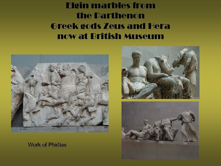 Elgin marbles from the Parthenon Greek gods Zeus and Hera now at British Museum
