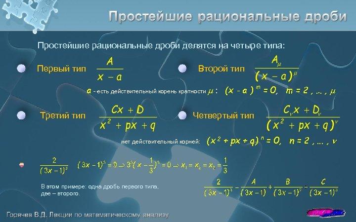 Простейшие рациональные дроби делятся на четыре типа: Первый тип Второй тип a - есть