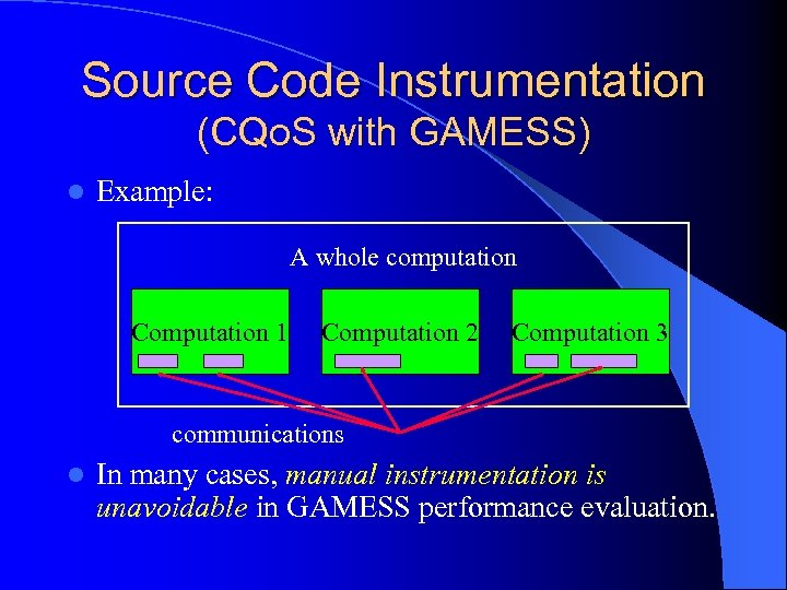 Source Code Instrumentation (CQo. S with GAMESS) l Example: A whole computation Computation 1