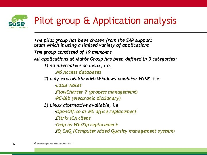 Pilot group & Application analysis The pilot group has been chosen from the SAP