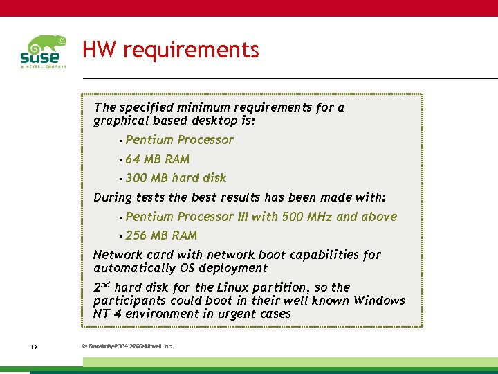 HW requirements The specified minimum requirements for a graphical based desktop is: • Pentium