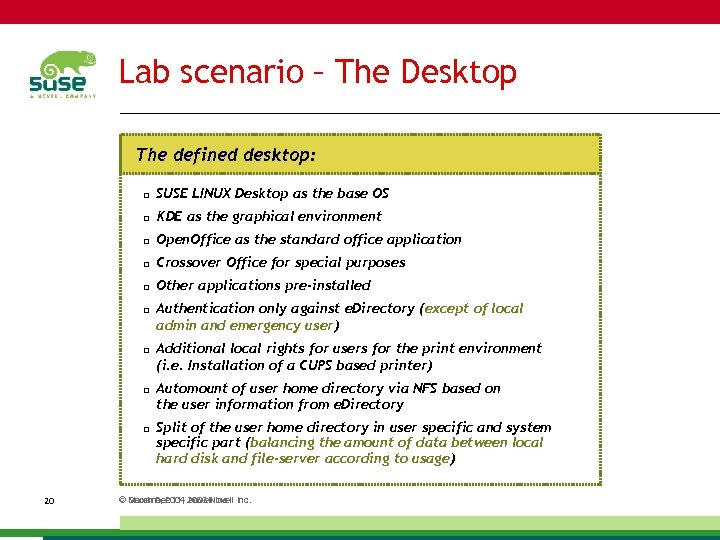 Lab scenario – The Desktop The defined desktop: SUSE LINUX Desktop as the base