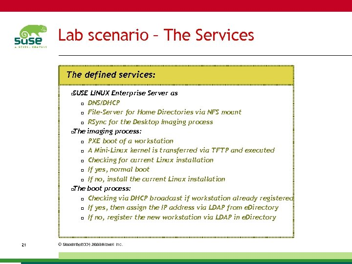 Lab scenario – The Services The defined services: SUSE LINUX Enterprise Server as DNS/DHCP