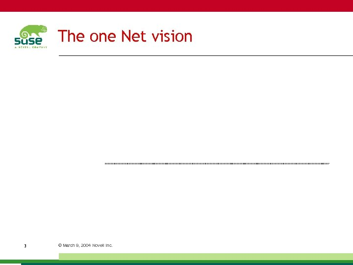 The one Net vision 3 © March 9, 2004 Novell Inc.