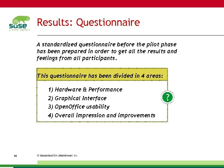 Results: Questionnaire A standardized questionnaire before the pilot phase has been prepared in order