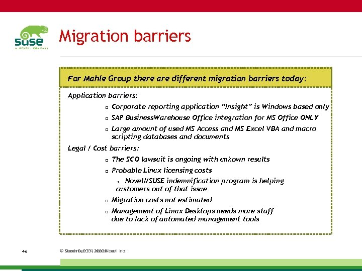 Migration barriers For Mahle Group there are different migration barriers today: Application barriers: Corporate
