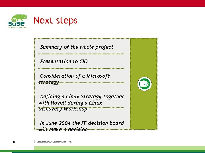 Next steps Summary of the whole project Presentation to CIO Consideration of a Microsoft