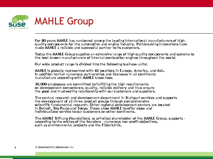MAHLE Group For 80 years MAHLE has numbered among the leading international manufacturers of