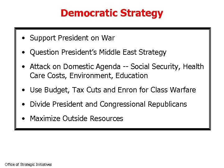 Democratic Strategy • Support President on War • Question President's Middle East Strategy •