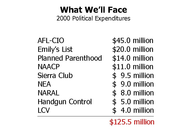 What We'll Face 2000 Political Expenditures AFL-CIO Emily's List Planned Parenthood NAACP Sierra Club