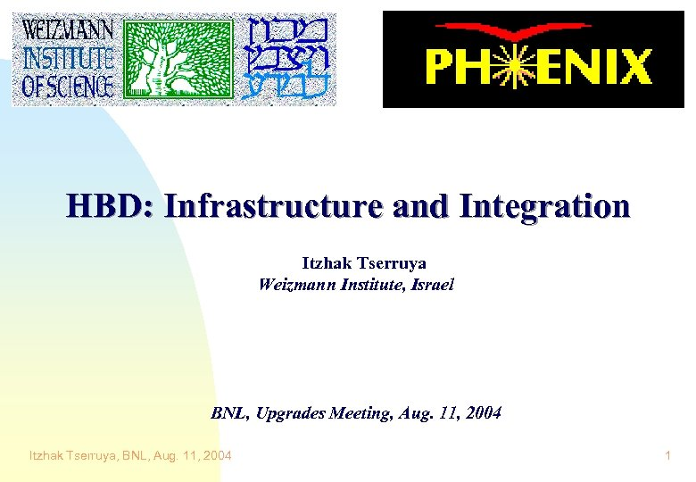 HBD: Infrastructure and Integration Itzhak Tserruya Weizmann Institute, Israel BNL, Upgrades Meeting, Aug. 11,