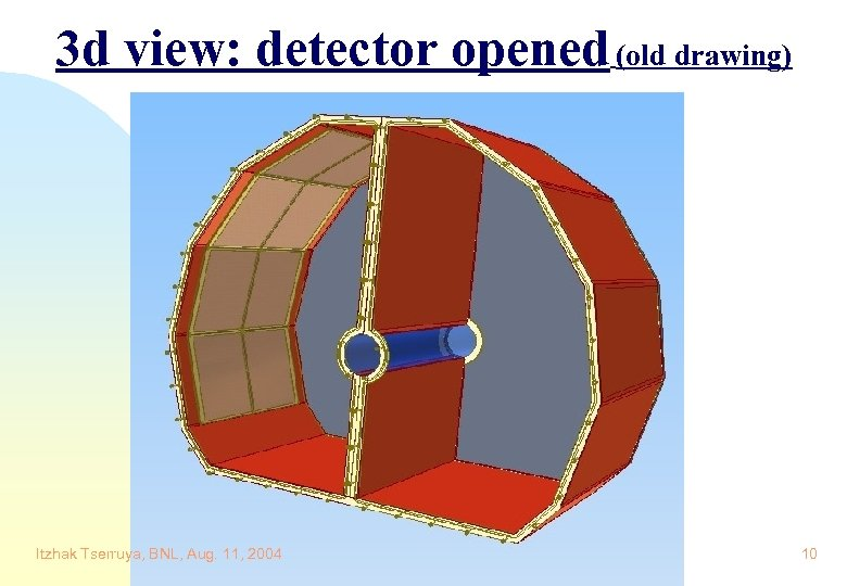 3 d view: detector opened (old drawing) Itzhak Tserruya, BNL, Aug. 11, 2004 10