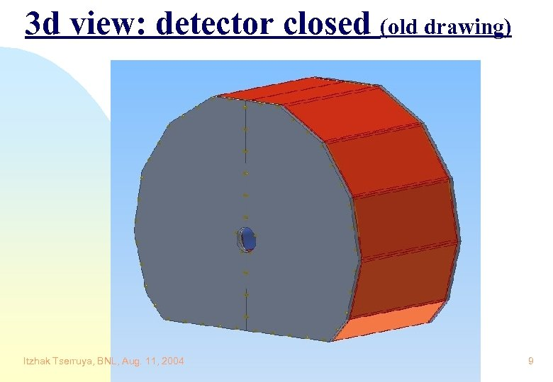 3 d view: detector closed (old drawing) Itzhak Tserruya, BNL, Aug. 11, 2004 9