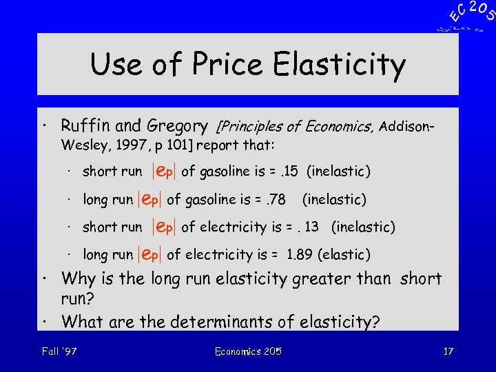 Use of Price Elasticity · Ruffin and Gregory [Principles of Economics, Addison. Wesley, 1997,