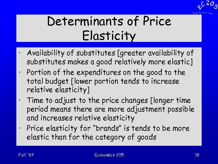 Determinants of Price Elasticity · Availability of substitutes [greater availability of substitutes makes a
