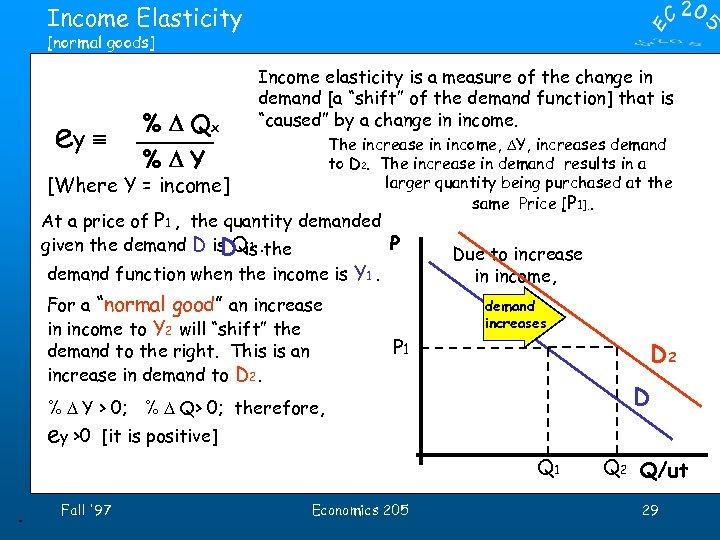 Income Elasticity [normal goods] ey º % D Qx Income elasticity is a measure