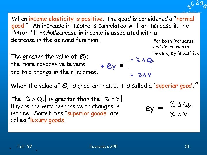 """When income elasticity is positive, the good is considered a """"normal good. """" An"""