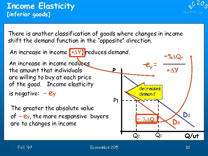 Income Elasticity [inferior goods] There is another classification of goods where changes in income